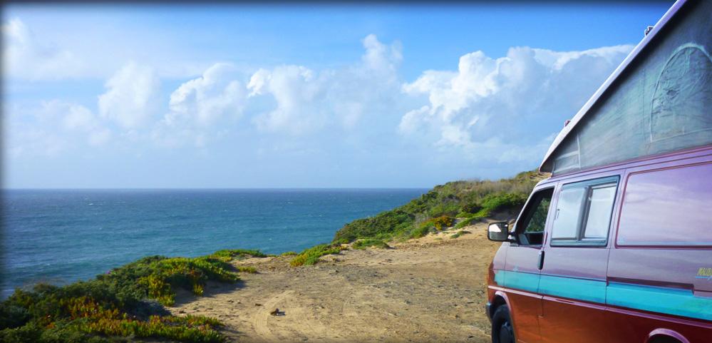 Mit dem gemieteten VW Bus nach Portugal zum surfen, schwimmen, sonnenbaden.